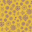 Yellow pattern with violet elements and white dots - Stock Vector