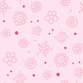 Cute pink pattern with floral elements and purple dots — Stock Vector