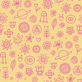 Cute yellow pattern with purple elements — Vector de stock