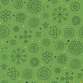 Green pattern with cute elements and yellow dots — Stock Vector