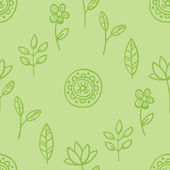 Green pattern with leaves and flowers — Stock Vector