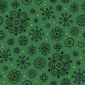 Green seamless pattern with black floral elements — Stock Vector