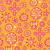 Orange pattern with simple cute elements — Stock Vector