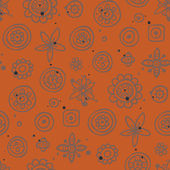 Orange seamless pattern with gray elements — Stock Vector