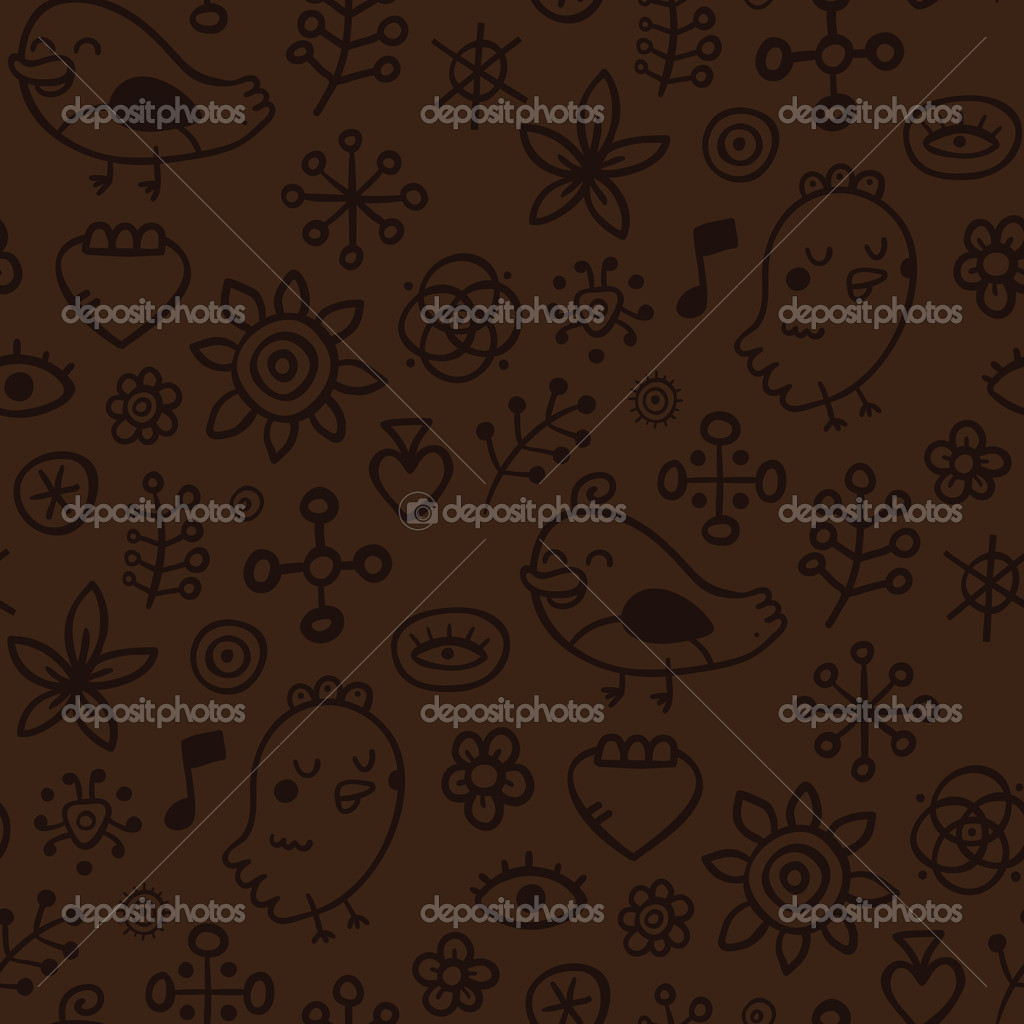 Cute seamless pattern with hand drawn elements  Stock Vector #6858159
