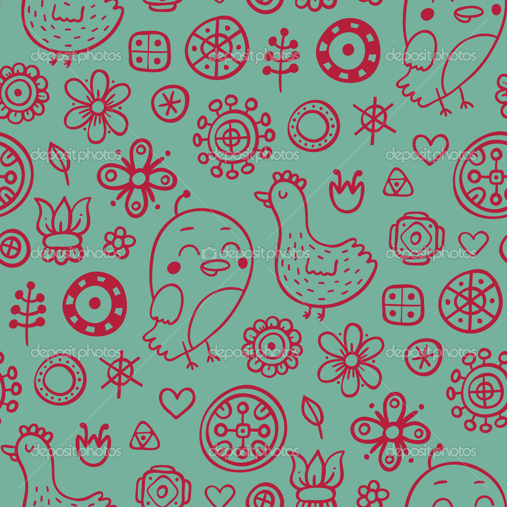 Cute seamless pattern with hand drawn elements  Stock Vector #6858314