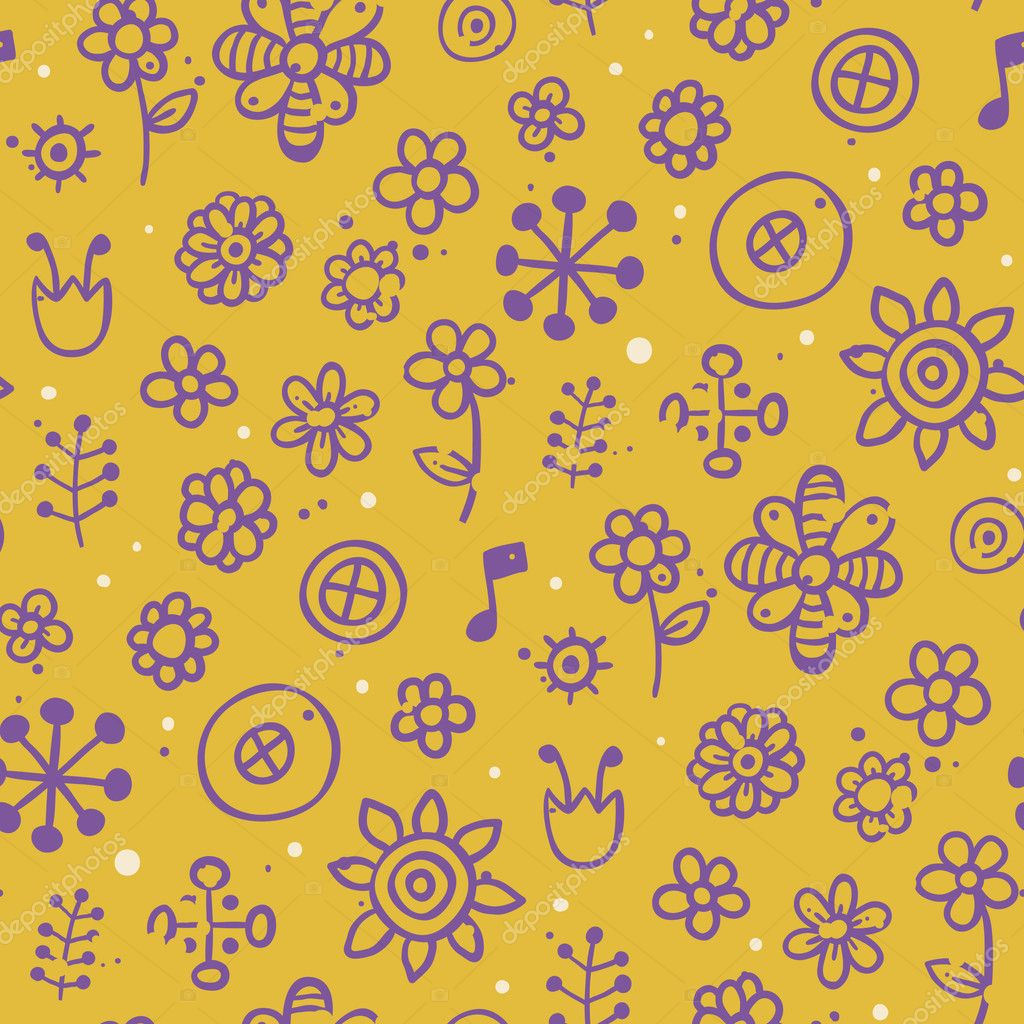 Cute seamless pattern with hand drawn elements — ベクター素材ストック #6858380