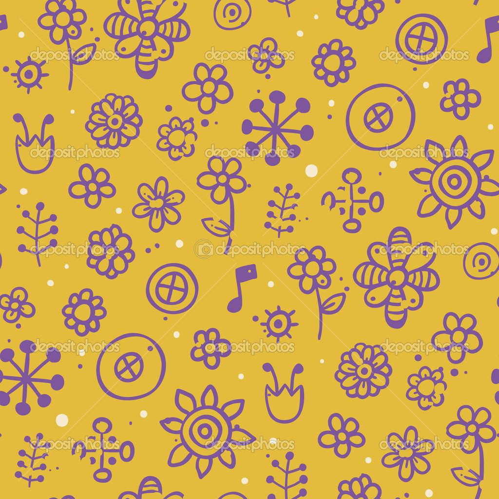 Cute seamless pattern with hand drawn elements — Векторная иллюстрация #6858380