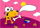 Hund auf dem spaziergang mit einem knochen und eine sprechblase auf roten planeten — Stockvektor