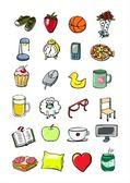 Unges saker, students liv vardagliga doodle saker — Stockvektor