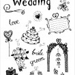 Stock Vector: Doodle wedding elements.