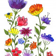 Stock Photo: Watercolor hand drawn colorful flower brunches.