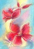 Pastel elle çizilmiş kırmızı orkide. — Stok fotoğraf