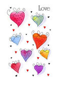 Watercolor hand drawn doodle hearts. — Stock Photo