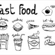 Hand drawn doodle fast food elements. — Stock Vector