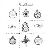Hand drawn doodle Christmas greeting card elements. — Stok Vektör