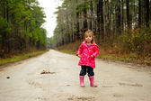 Girl on road — Stock Photo