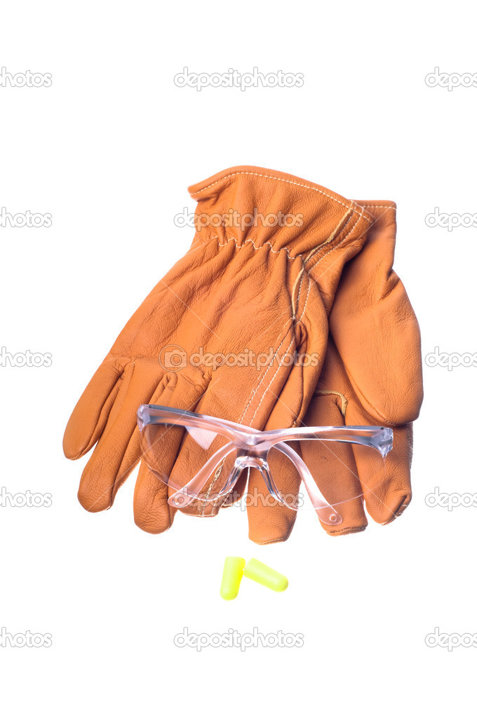 Safety glasses, gloves, and earplugs — Stock Photo #6827630