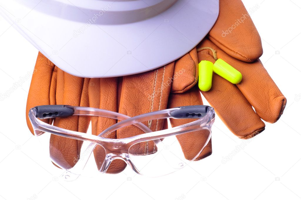 Hardhat, safety glasses, gloves, and earplugs  Stock Photo #6827643