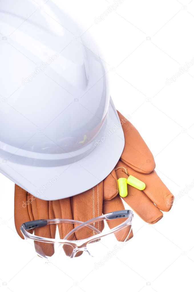 Hardhat, gloves, safety glasses, and earplugs — Stock Photo #6827645