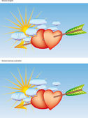 The sun shines over our heart, pierced by Cupid's arrow — Stock Vector