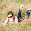 Girl studying fine nature — Foto Stock