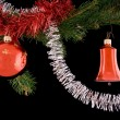 Christmas ball and bell — Stock Photo
