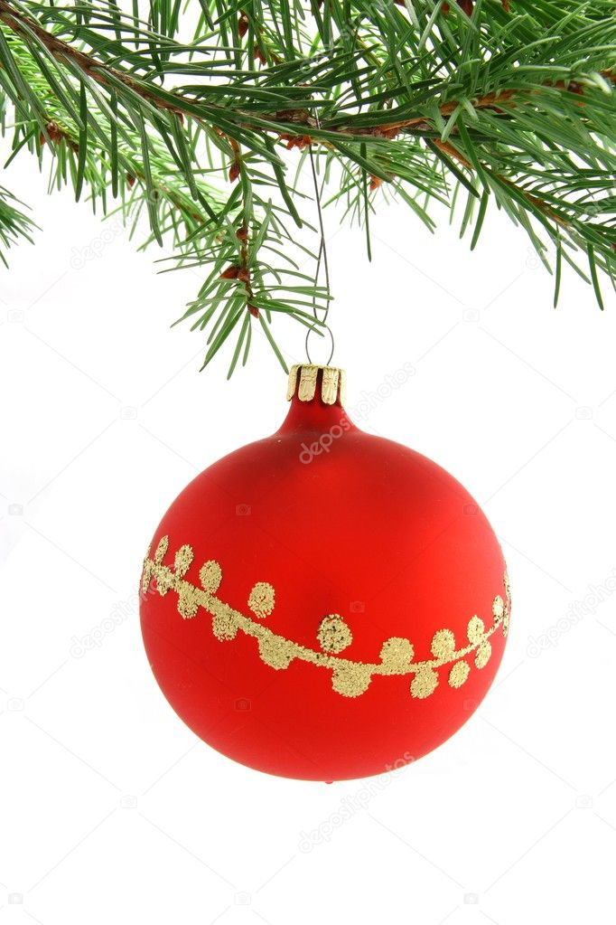 Red christmas ball decorated with gold hanging on christmas tree — Stock Photo #7134563