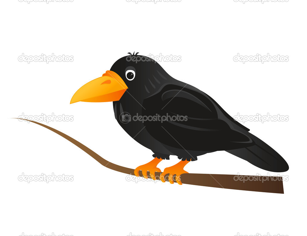 Black crow sitting on tree branch — Stock Vector #6831515