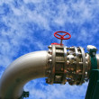 Royalty-Free Stock Photo: Industrial zone, Steel pipelines and valves against blue sky
