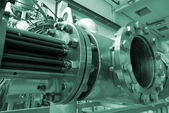 Industrial zone, Steel pipelines in green tones — Stock Photo