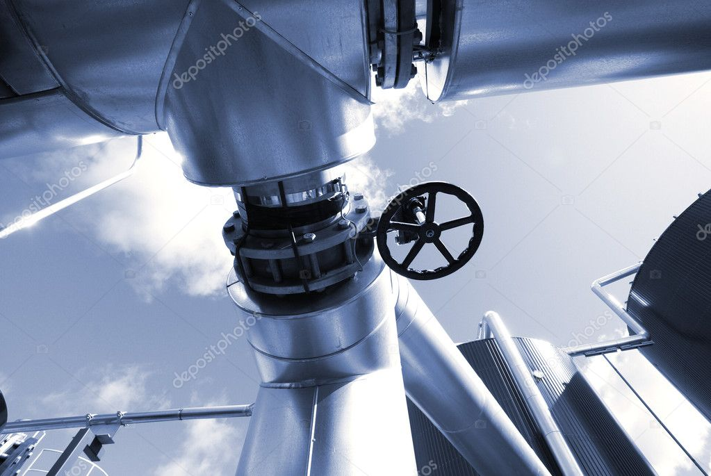 Industrial zone, Steel pipelines in blue tones   — Stock Photo #6896713