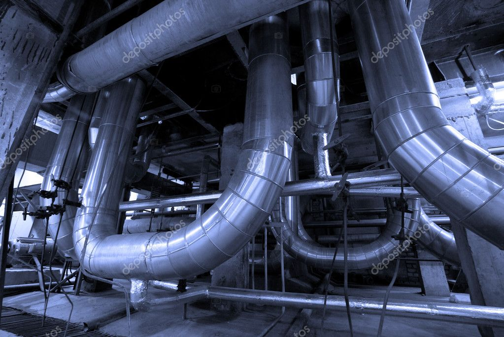 Industrial zone, Steel pipelines in blue tones   — Stock Photo #6896768