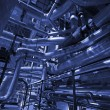 Pipes, tubes, machinery and steam turbine at power plant — Foto Stock #6923517