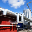Industrial zone, Steel pipelines against blue sky — Stockfoto #6929125