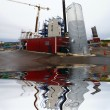 Stockfoto: Construction site, new bio fuel power plant with reflection