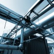 Industrial zone, Steel pipelines in blue tones — Stock Photo #6929173