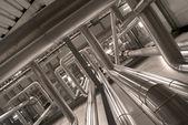 Industrial zone, Steel pipelines in sepia tones — Stock Photo