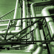 Royalty-Free Stock Photo: Industrial zone, Steel pipelines in green tones