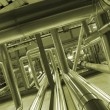 Stock Photo: Industrial zone, Steel pipelines in green tones