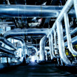 Industrial zone, Steel pipelines in blue tones — Stock Photo
