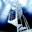 Industrial zone, Steel stairs in blue tones — Stock fotografie