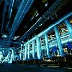 Industrial zone, Steel pipelines in blue tones — Stock Photo