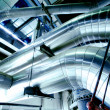 Industrial zone, Steel pipelines in blue tones — Foto Stock