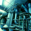 Стоковое фото: Industrial zone, Steel pipelines in blue tones