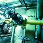 Industrial zone, Steel pipelines in blue tones — Stock Photo #6932502