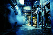 Old abandoned factory in blue tones — Stock Photo