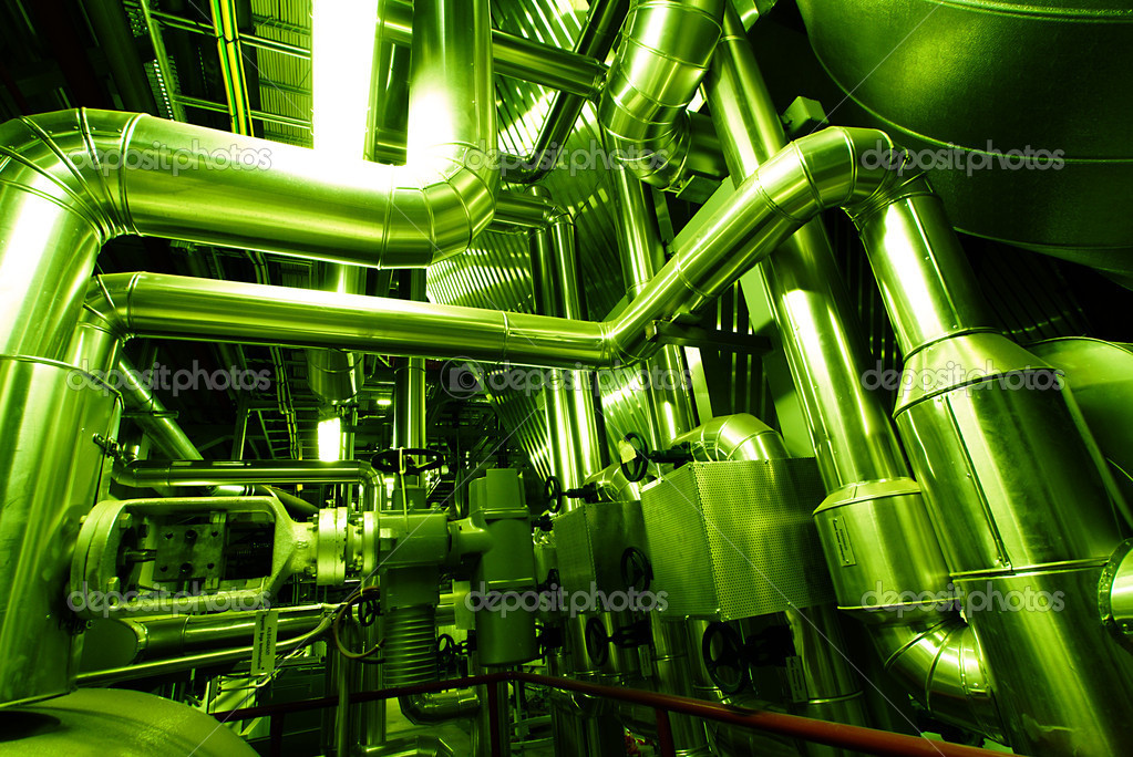 Industrial zone, Steel pipelines in green tones                   — Stock Photo #6932791