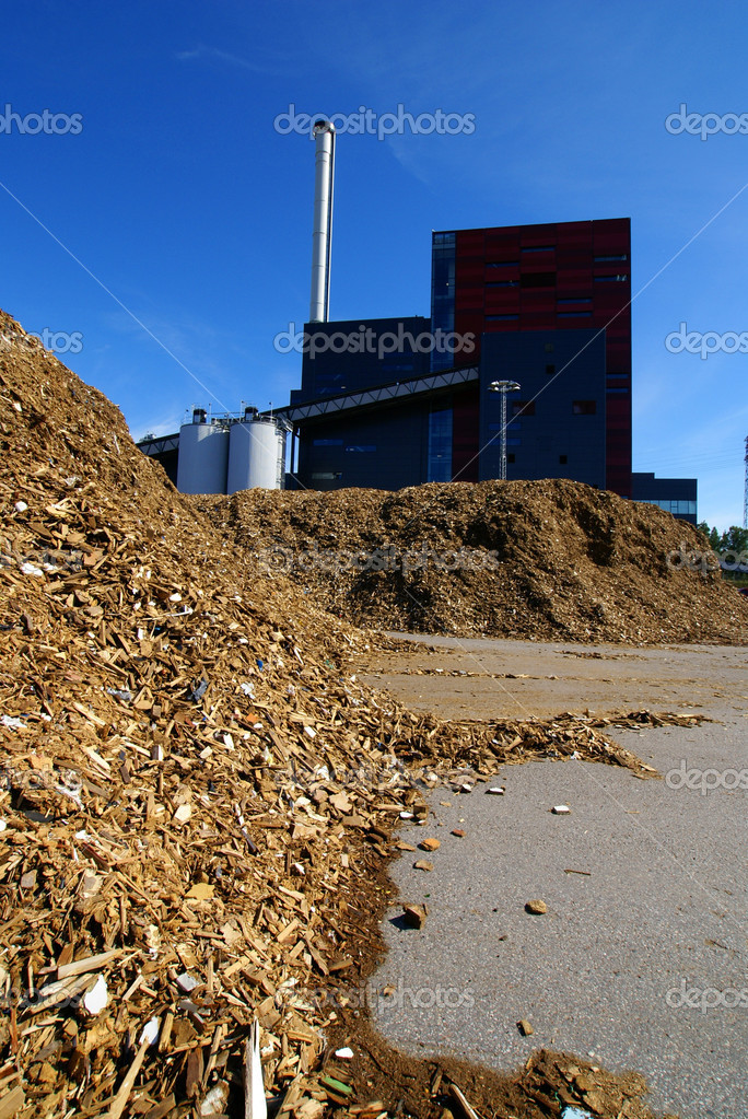 Bio power plant with storage of wooden fuel                  — Stock Photo #6932792