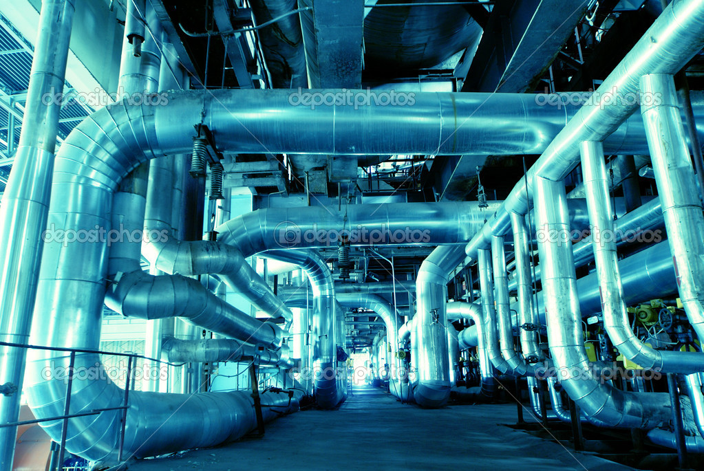 Industrial zone, Steel pipelines in blue tones           — Stock Photo #6933253